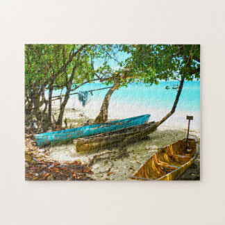 Beach Boats Jamaica. Jigsaw Puzzle