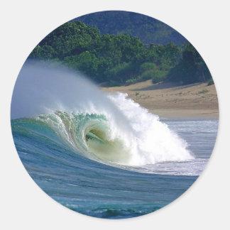 Beach break green surfing wave Java coast Round Stickers