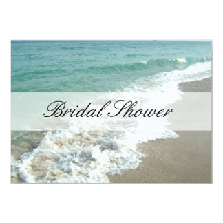 "Beach Bridal Shower Invitations, Aqua Blue/White 5"" X 7"" Invitation Card"