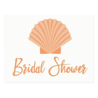 Beach Bridal Shower Seashell Orange Wedding Postcard