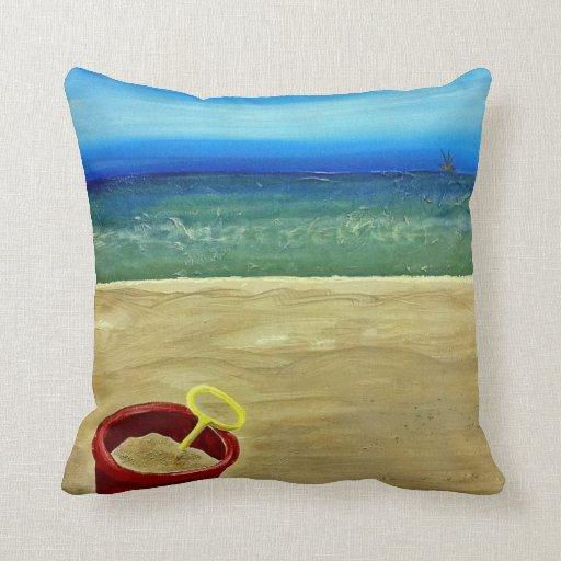 Inexpensive Beach Throw Pillows : Beach Bucket Throw Pillows Zazzle