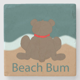 Beach Bum Bear Stone Coaster