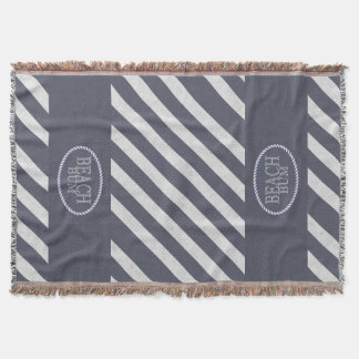 Beach Bum Fun Nautical Blue and White Stripe Throw Blanket