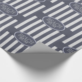 Beach Bum Nautical Denim Blue and White Wash Wrapping Paper