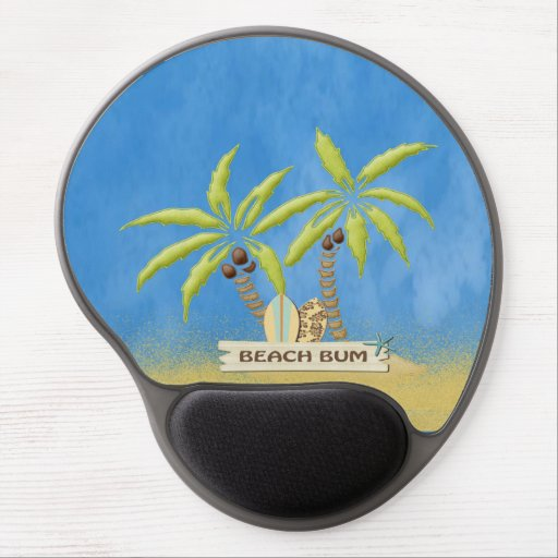 Beach Bum, Surfboards, Palm Trees and Sand Gel Mouse Pads
