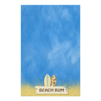 Beach Bum Surfboards Palm Trees and Sand Custom Stationery
