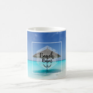 Beach Bum Typography - Umbrella on Tropical Beach Coffee Mug