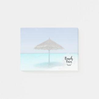 Beach Bum Typography - Umbrella on Tropical Beach Post-it Notes