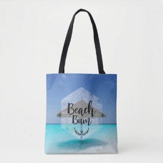 Beach Bum Typography - Umbrella on Tropical Beach Tote Bag