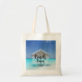 Beach Bum Typography - Umbrella on Tropical Beach Tote Bag