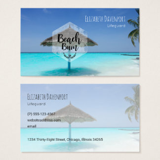 Beach Bum with Thatched Beach Umbrella Business Card
