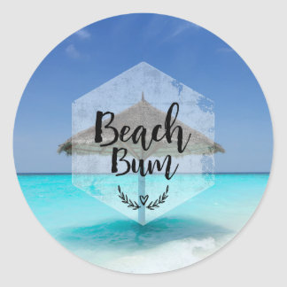 Beach Bum with Thatched Beach Umbrella Classic Round Sticker