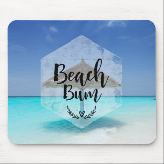 Beach Bum with Thatched Beach Umbrella Mouse Pad