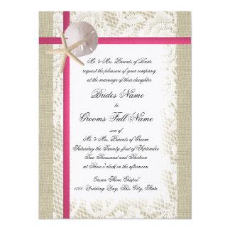 Beach Burlap and Lace Fuchsia Wedding Card