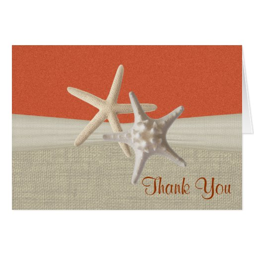 Beach Burlap and Starfish Coral Thank You Greeting Card