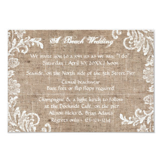 Beach Burlap & Lace - 3x5 Wedding Invitation