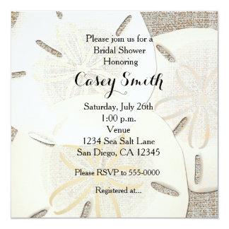 Beach Burlap Sand Dollar Bridal Shower Invitation