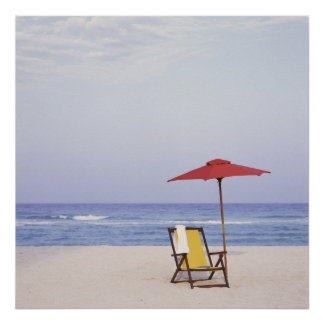 Beach Chair And Umbrella By Ocean Poster