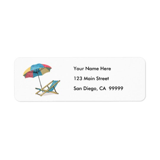 Beach Chair and Umbrella Return Address Label