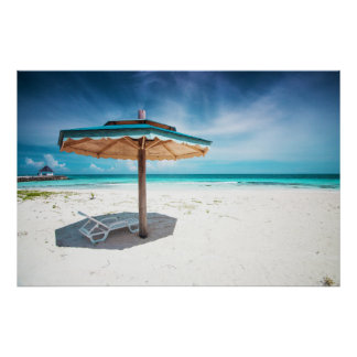 Beach Chair And Umbrella | Silver Sands Beach Poster