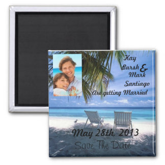 Beach chair Save the date wedding magnet w/photo!!