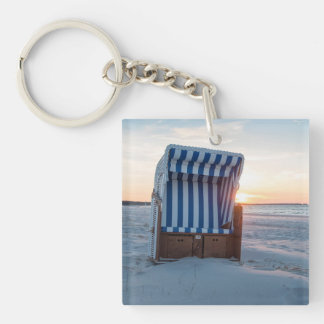 Beach chair Single-Sided square acrylic key ring