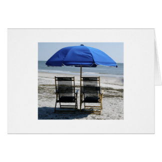 Beach Chairs and Umbrella Card