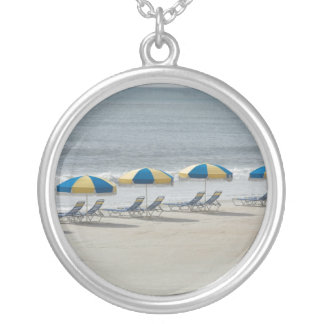 beach chairs and umbrellas silver plated necklace