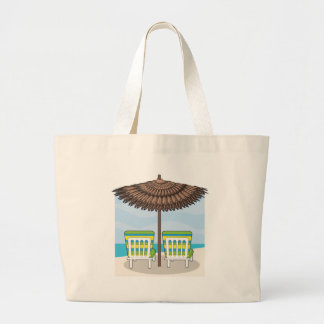 Beach Chairs Large Tote Bag