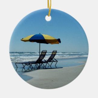 Beach Chairs on Daytona Beach Ceramic Ornament