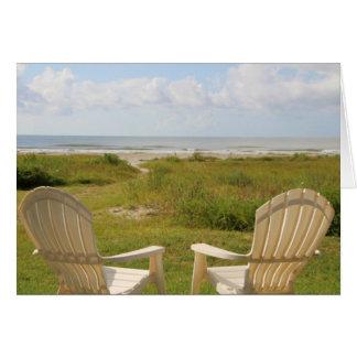 Beach Chairs on Galveston Island Greeting Card