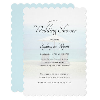 Beach Chairs Paradise Wedding Shower Invitations