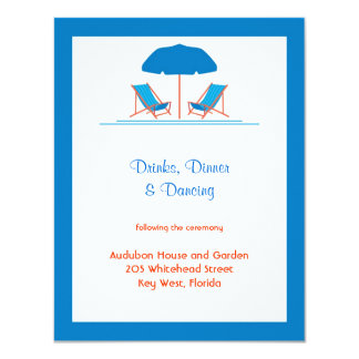 Beach Chairs Wedding Reception Card