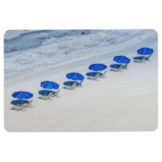 Beach Chairs with Blue Umbrella on Madeira Beach Floor Mat