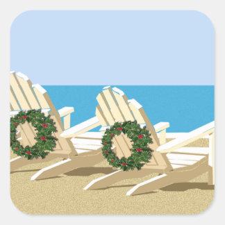 Beach Chairs & Wreaths Square Sticker