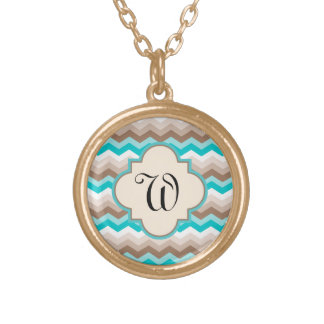 Beach Chevron Zigzag Letter Gold Plated Necklace