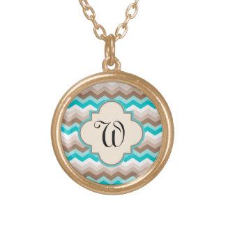 Beach Chevron Zigzag Letter Round Pendant Necklace