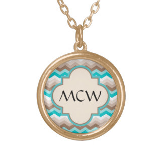 Beach Chevron Zigzag Monogram Gold Plated Necklace