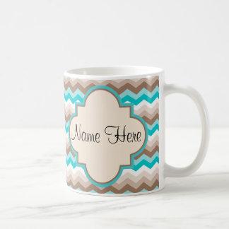 Beach Chevron Zigzag Name Coffee Mug