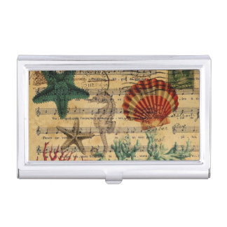 beach chic coastal coral seahorse seashell business card holder