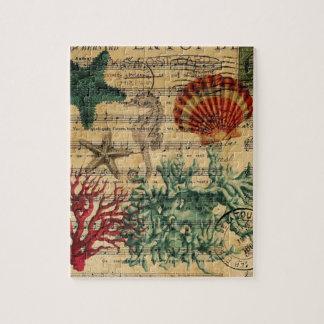 beach chic coastal coral seahorse seashell jigsaw puzzle