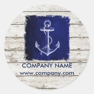 beach chic wood nautical navy blue anchor classic round sticker