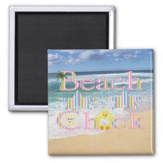 Beach  Chick Square Magnet