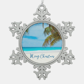 Beach Christmas Ornaments Pewter Palm Tree