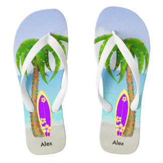 Beach Christmas Palm Tree Surfboard Thongs