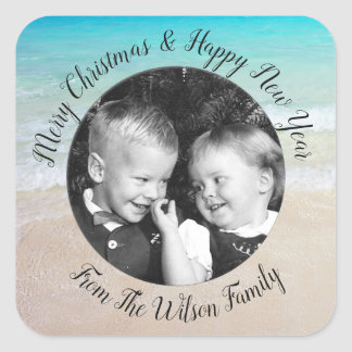 Beach Christmas Photo Greeting Square Sticker