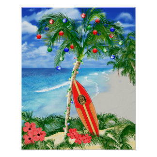 Beach Christmas Poster