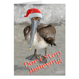 Beach Christmas Santa Pelican Card