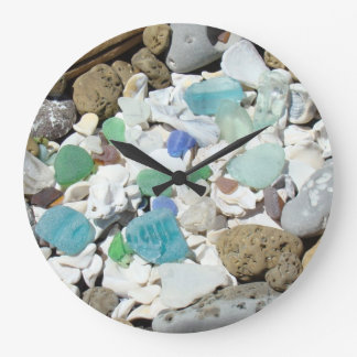 Beach Clocks Blue Green Sea Glass Seashells gifts