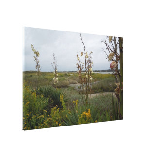 Beach Clouds and Wildflowers - Oak Island, NC Canvas Print